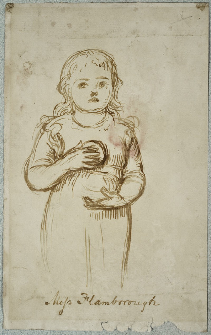 Study of Gladys Holman Hunt holding an Orange, for 'Miss Flamborough'