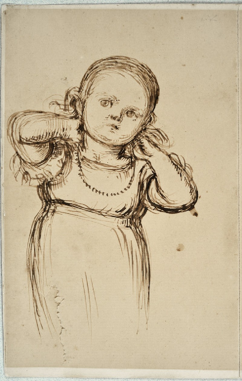 Study of Gladys Holman Hunt trying on a Necklace (WA2007.6.215)
