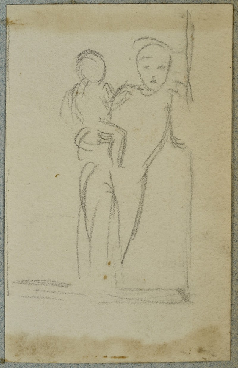 Woman and Child leaning against a Window Frame