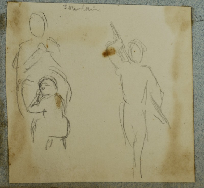 Sketch of three Figures, including One holding a Rod behind his Back