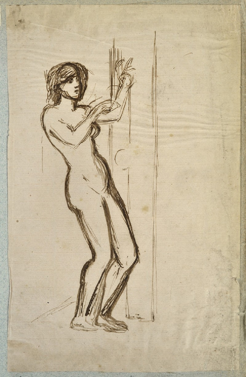 Female Nude knocking on a Door