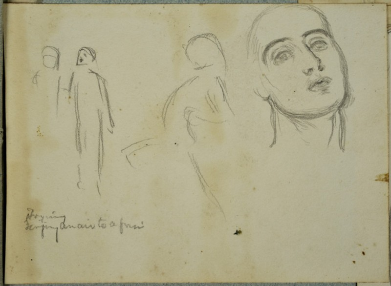 Studies of the Head of Edith Holman Hunt, a Figure in motion, and two Figures talking