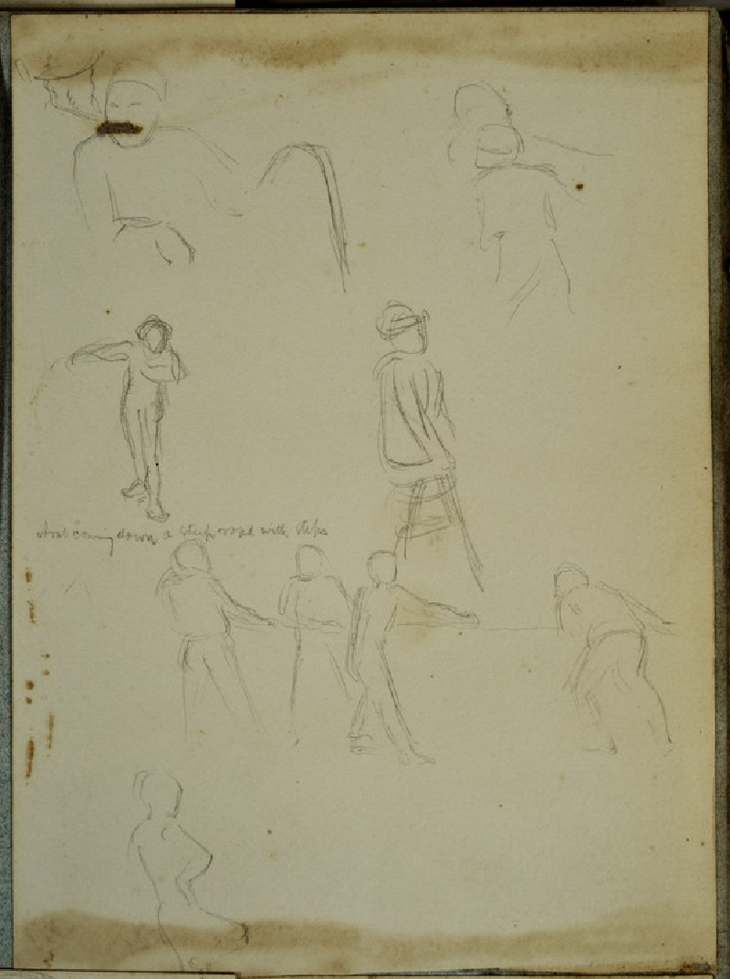 Figure Studies, including an Arab coming down a steep Road