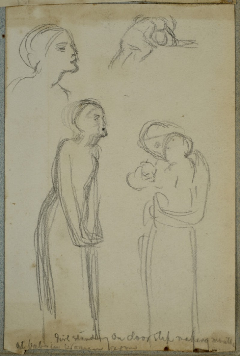 Figure studies of a woman with a baby, a standing female figure, and a child playing with a ball