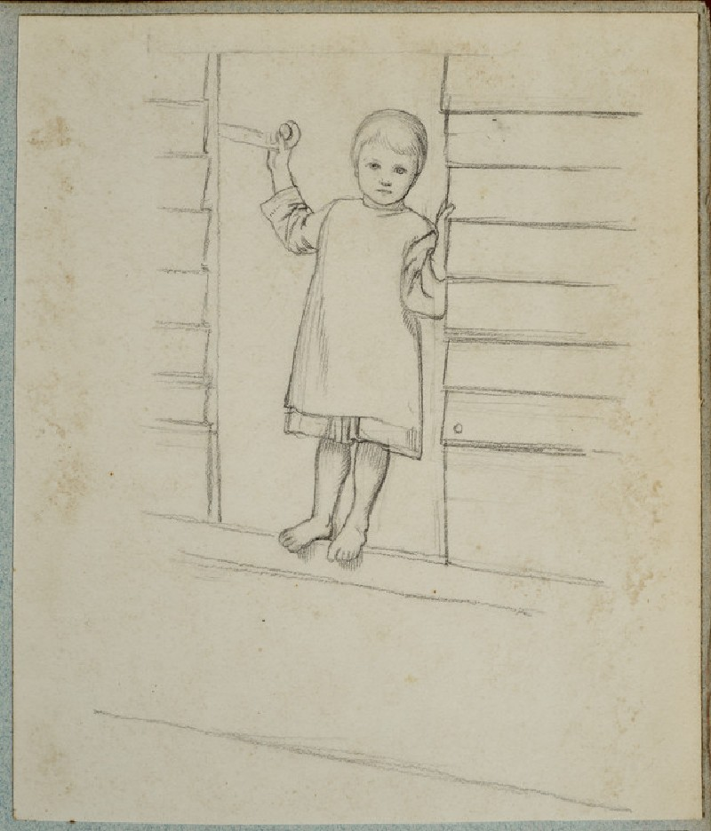 Girl in a Pinafore, standing on a Window Ledge