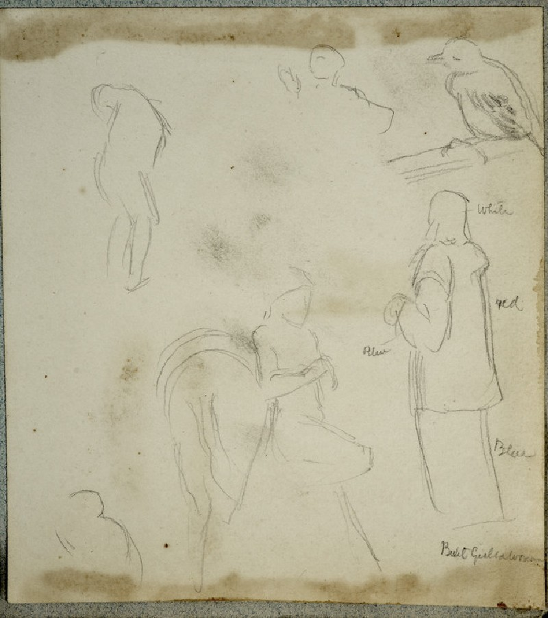 Studies of an Eastern Figure, a Figure with a Horse, a Bird on a Perch, and other Studies