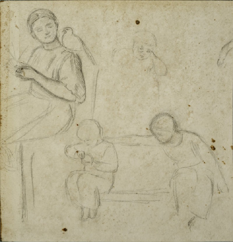 Study of Children in an Interior, including a Girl plaiting Straw with a Dove on her Shoulder (WA2007.6.63)
