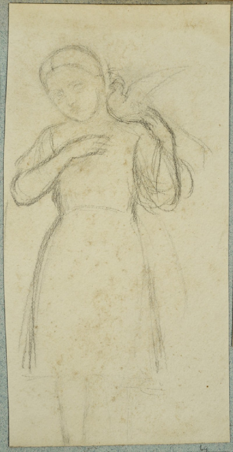 Sketch of a Young Girl standing with a Dove on her Shoulder