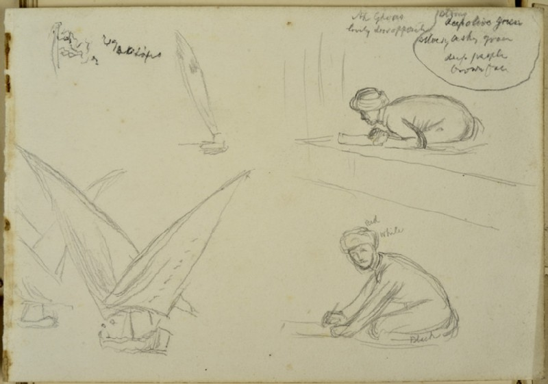 Studies of Sailing Boats and two crouching Figures (WA2007.7.110)