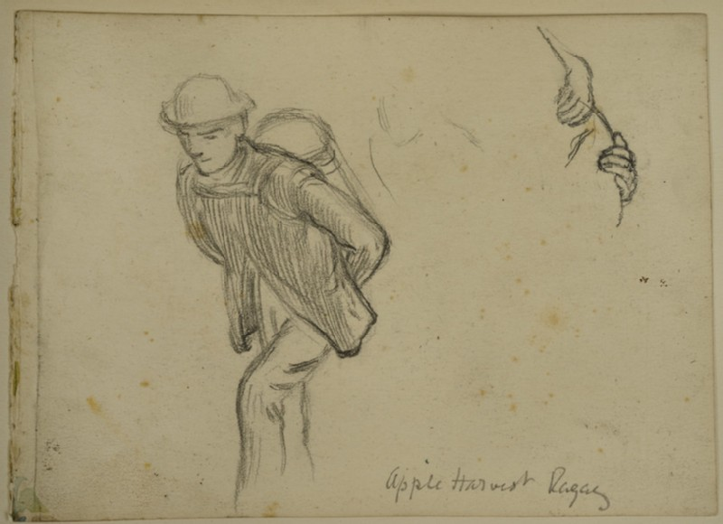 Study of a Man carrying a Basket, for 'The Apple Harvest, Valley of the Rhine, Ragaz'