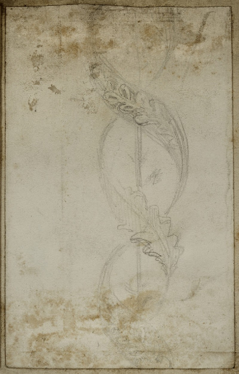 Study of Decoration for a Frame: A Serpentine Frieze of Oak Leaves