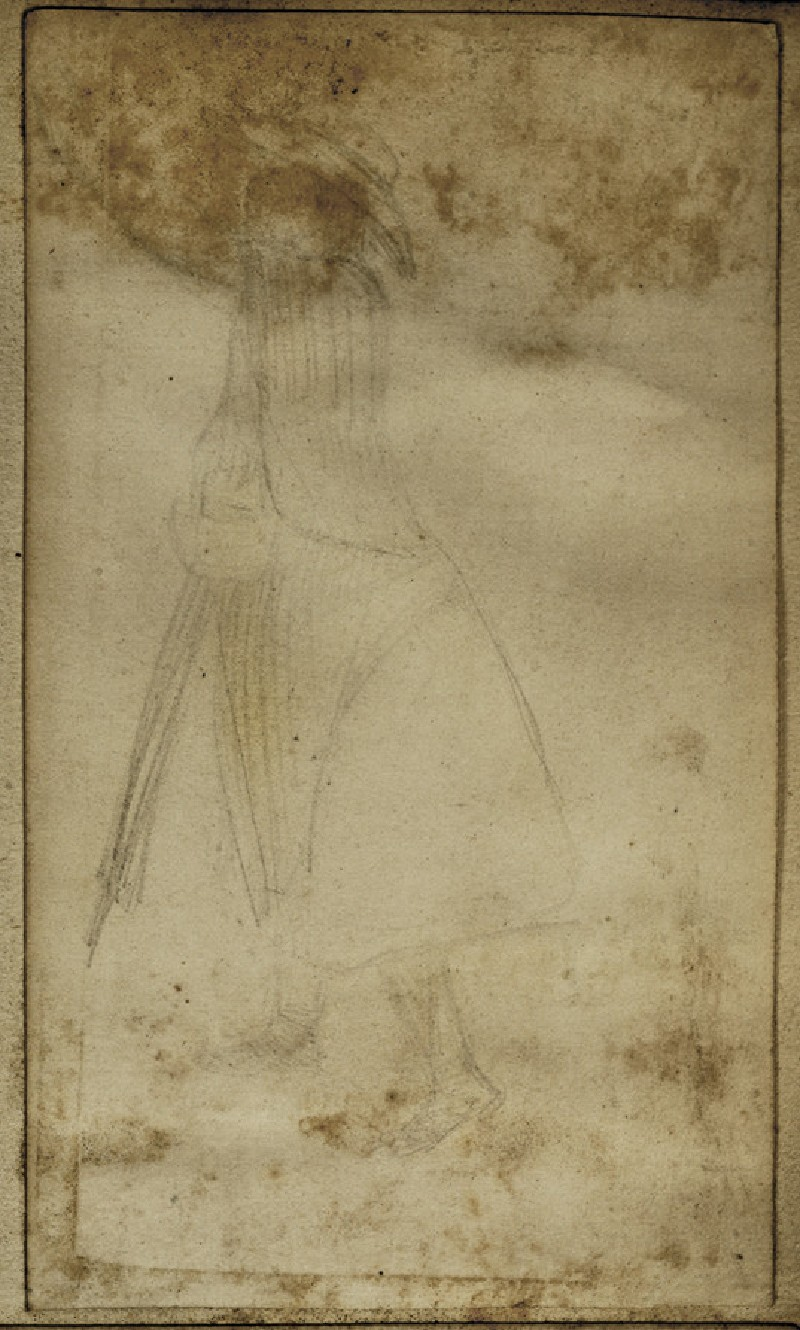 Study of a Woman wearing a broad-brimmed Hat carrying a Basket (WA2007.7.57)
