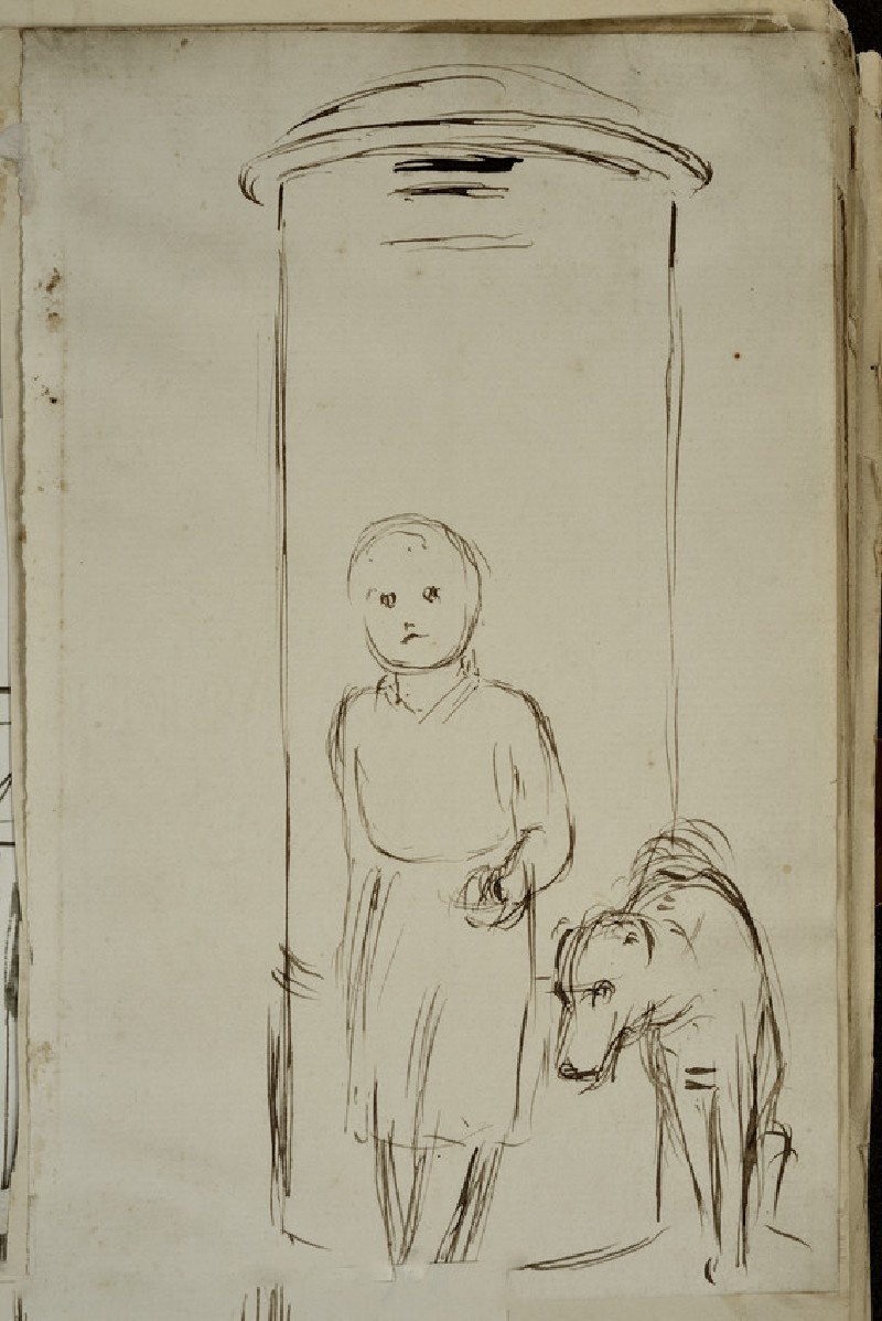 Study of a Child and a Dog standing in front of a Pillar-box (WA2007.7.7)