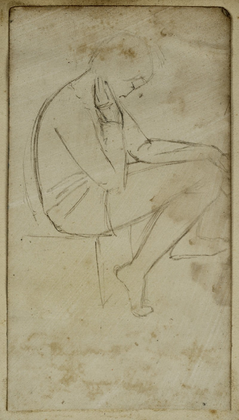 Recto: Study of a seated Youth in profile<br />Verso: Slight Figure Study