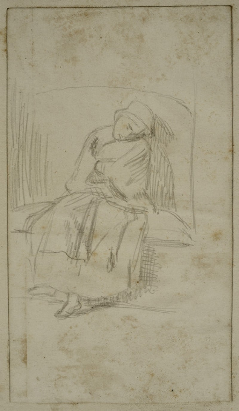 Young Woman asleep on a Settle
