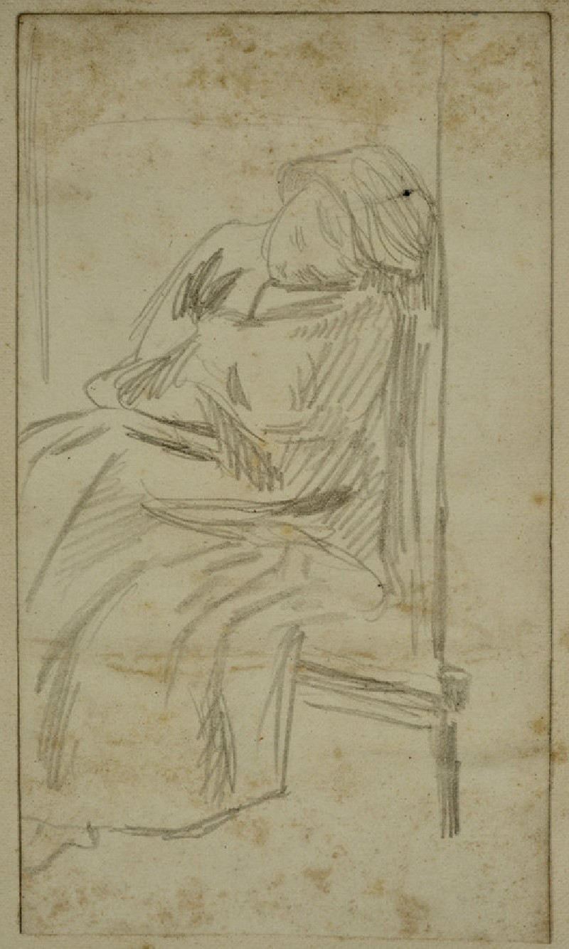 Young Woman asleep on a Settle, closer view