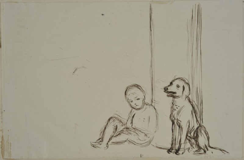 Study of a Child and a Dog sitting in front of a Pillar-box (WA2007.7.8)