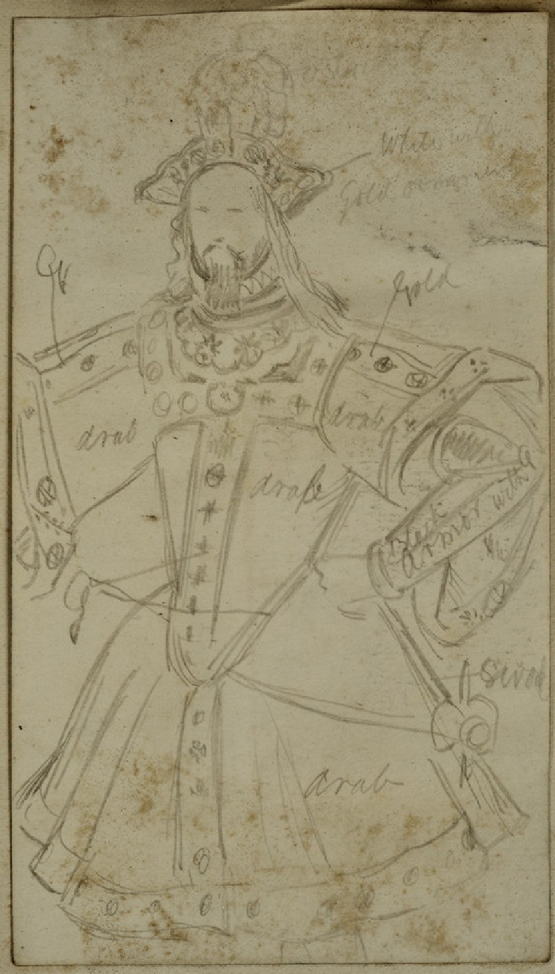Recto: Costume Study of a princely Figure<br />Verso: Slight Costume Study
