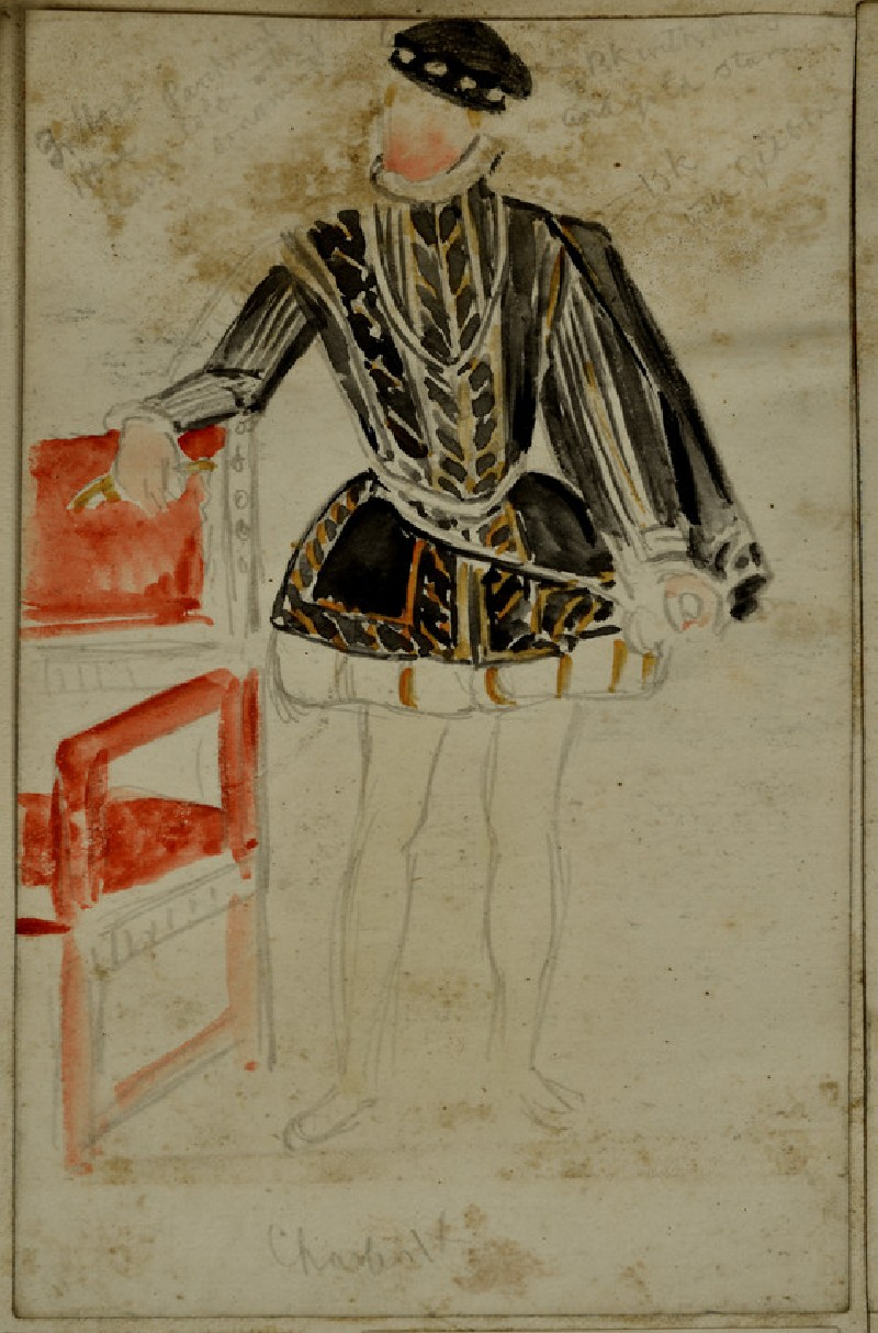 Recto: Costume Study of Charles IX of France, with colour notes