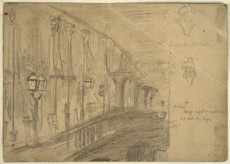 Recto: Study of London Bridge for 'London Bridge on the Night of the Marriage of the Prince and Princess of Wales' 