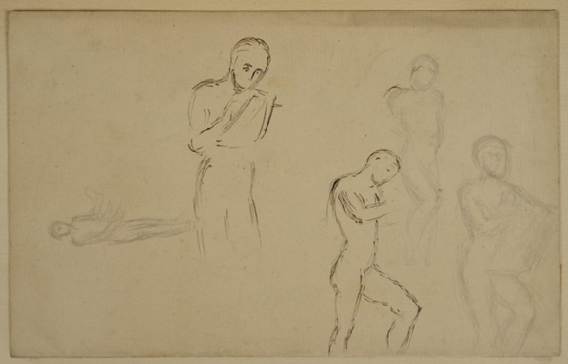 Recto: Five Studies of male Nudes