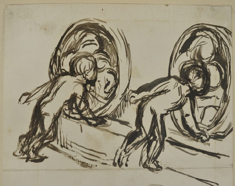 Studies of Gladys Holman Hunt looking at a Bas-relief of the Virgin and Child (WA2007.8.28)