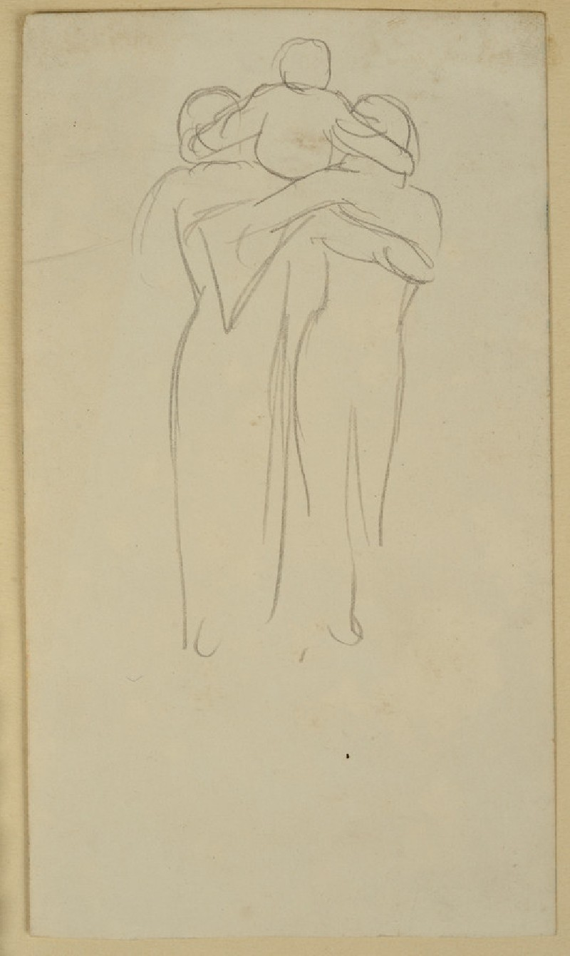Recto: Study of a Couple seen from behind, holding up a Child<br />Verso: Study of a Roundel