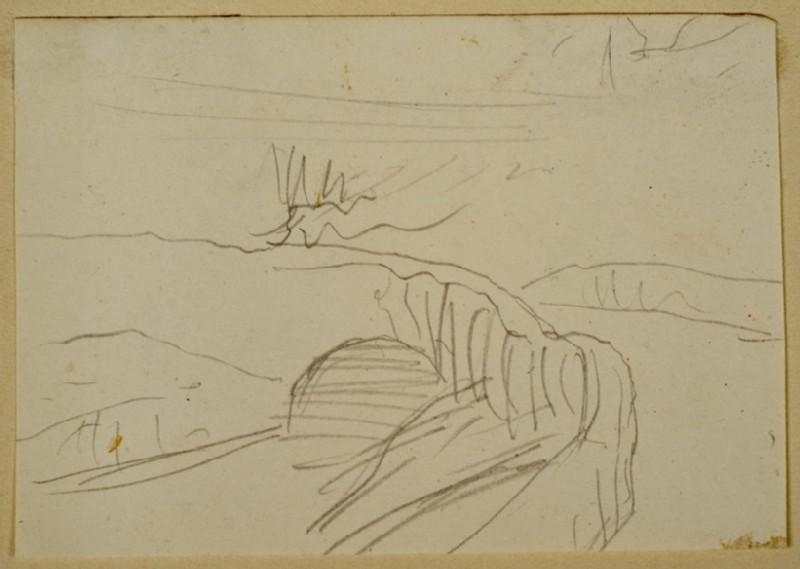Recto: Slight Study of Landscape<br />Verso: Study of Ornament (WA2007.8.66)