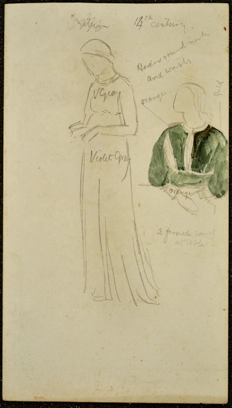 Recto and verso: Studies of medieval Costumes