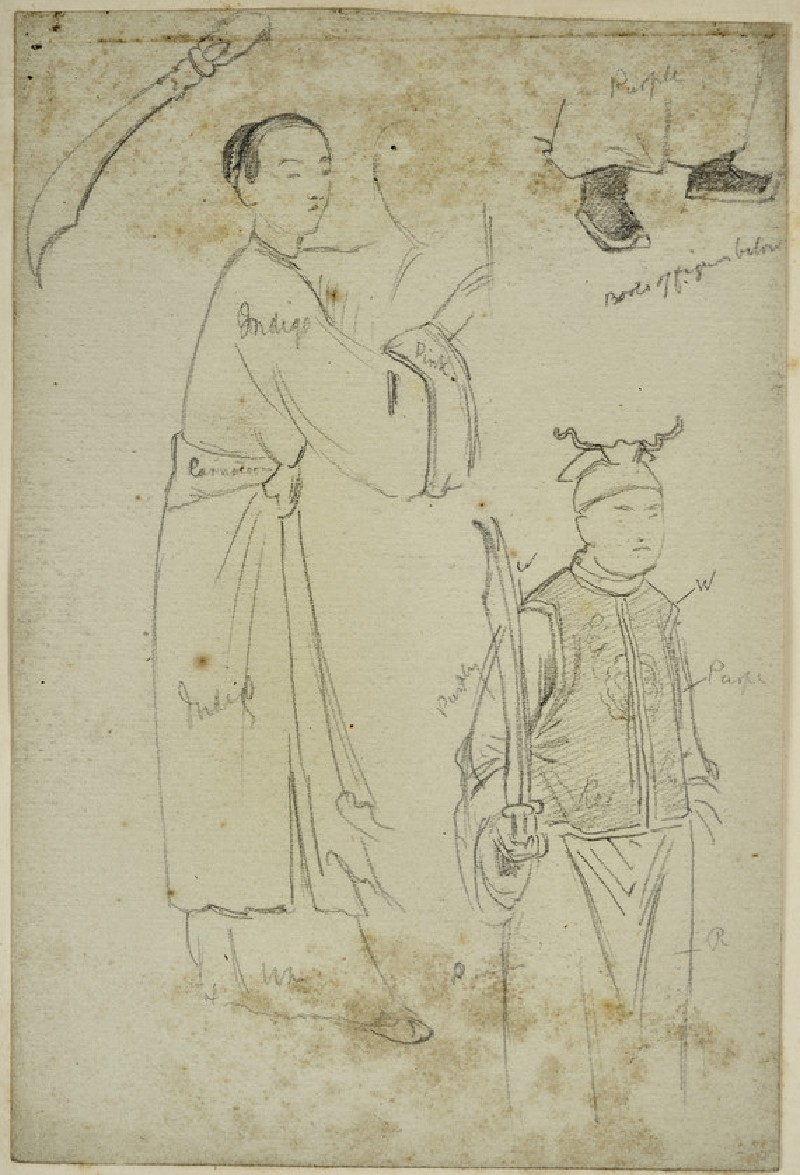 Studies of two Chinese Figures, with colour notes, for an Illustration to 'Temujin' (WA2007.9.3)