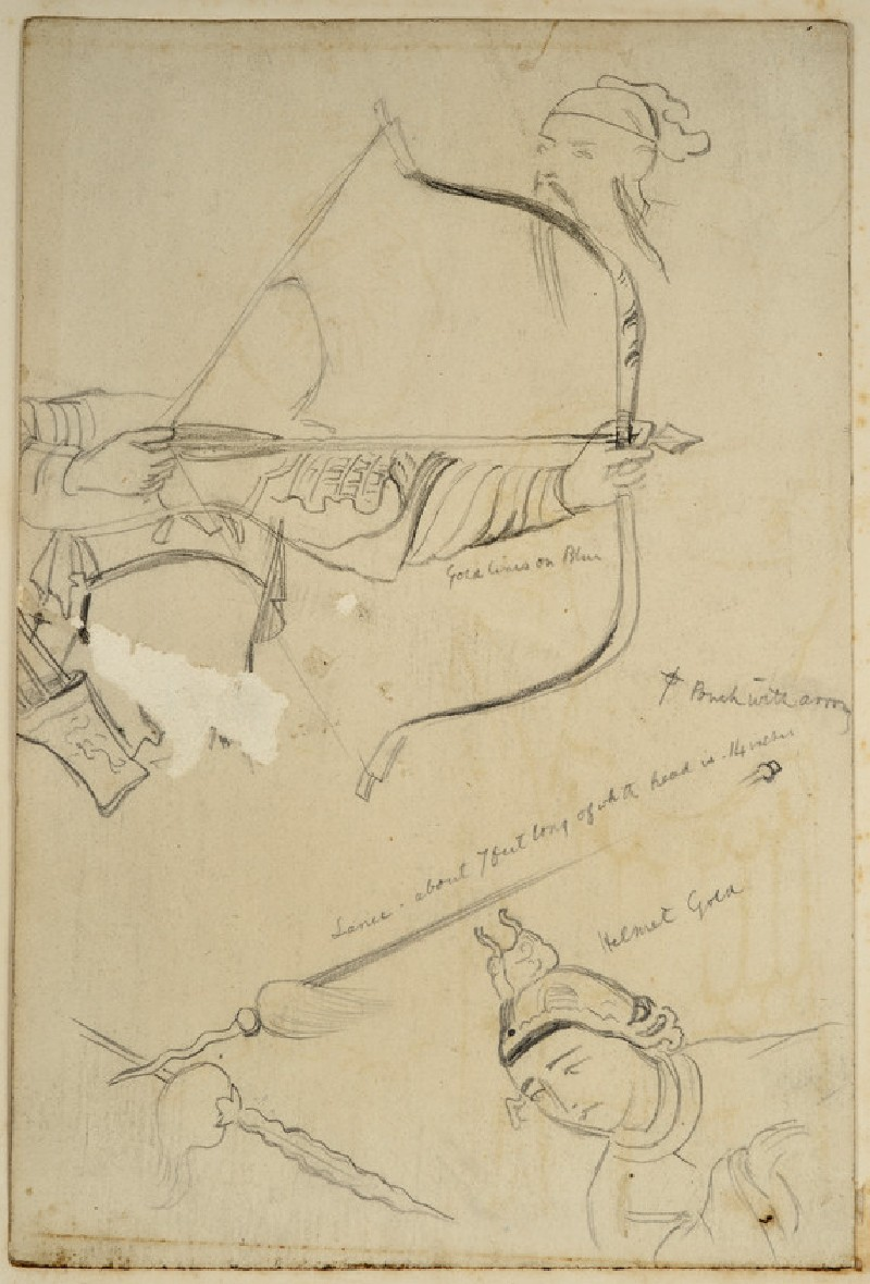 Studies of Weapons and Chinese armour, for an Illustration to 'Temujin' (WA2007.9.7)