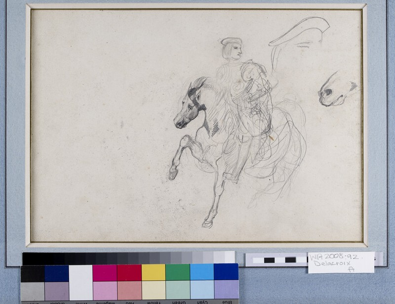 Recto: A Horseman wearing a Cuirass with a separate Study of his Cap and a further Study of the Horse's Muzzle<br />Verso: A Goat's Head in profile, a Woman's Head and an elongated Head in profile (WA2008.92)