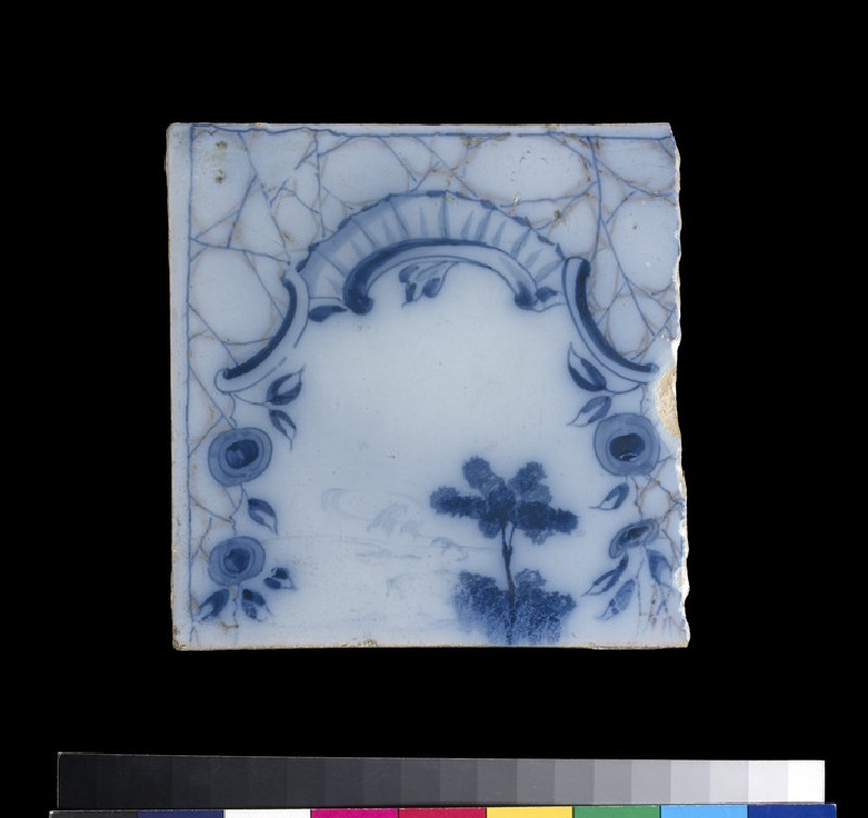 Tile with rococo cartouche and blue flowers (WA2009.171)