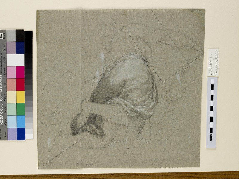 Recto: Study for a nymph (ceiling figure)