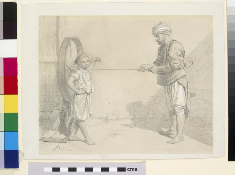 An Arab man and a young boy winding wool