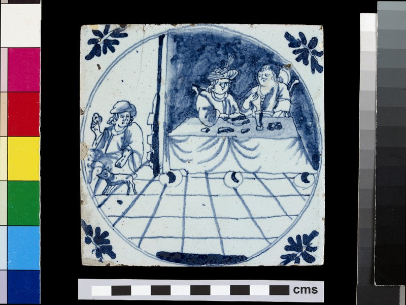 Tile with Dives and his wife at a table and Lazarus with a dog (WA2012.1.105)