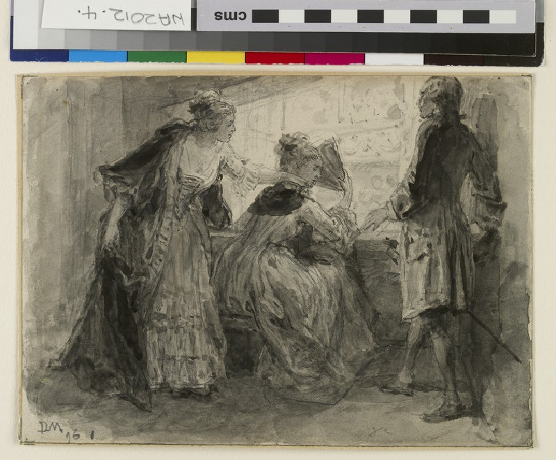 Three figures in eighteenth-century costume in a box in the theatre (WA2012.4)
