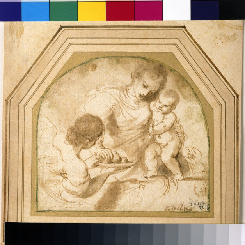 Madonna and Child with an angel offering fruit