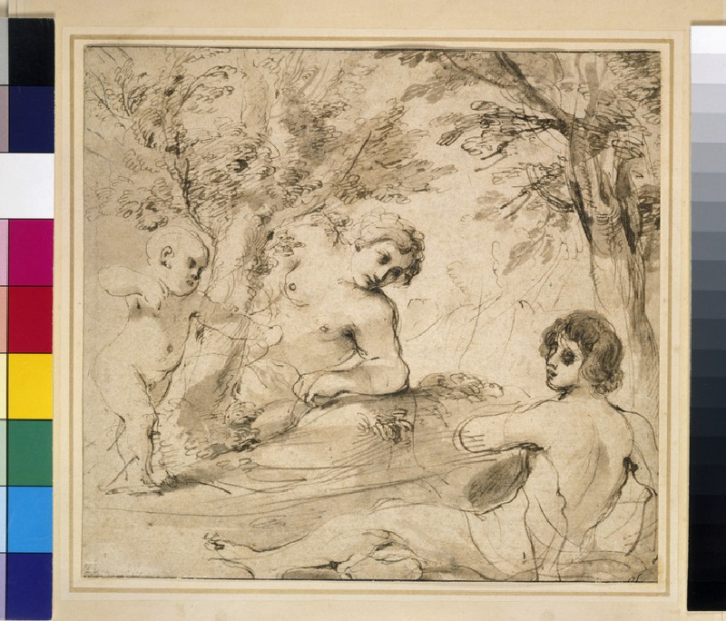 Venus, Adonis and Cupid in a landscape