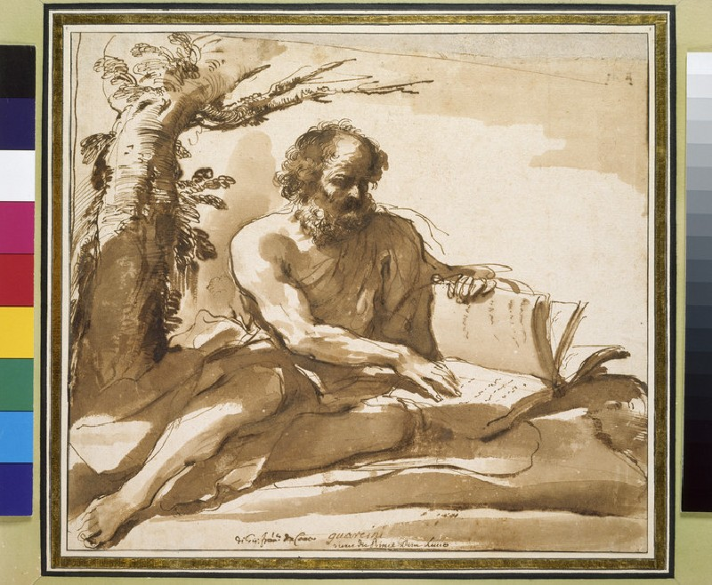 An old bearded man, probably St Jerome, seated on the ground at the foot of a tree, turning the leaves of a large volume (WA2012.91)
