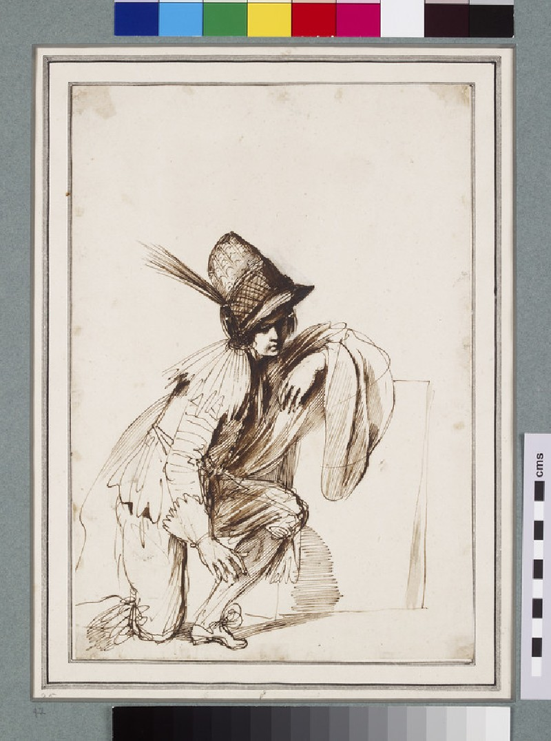 Kneeling youth wearing a tall hat with a feather