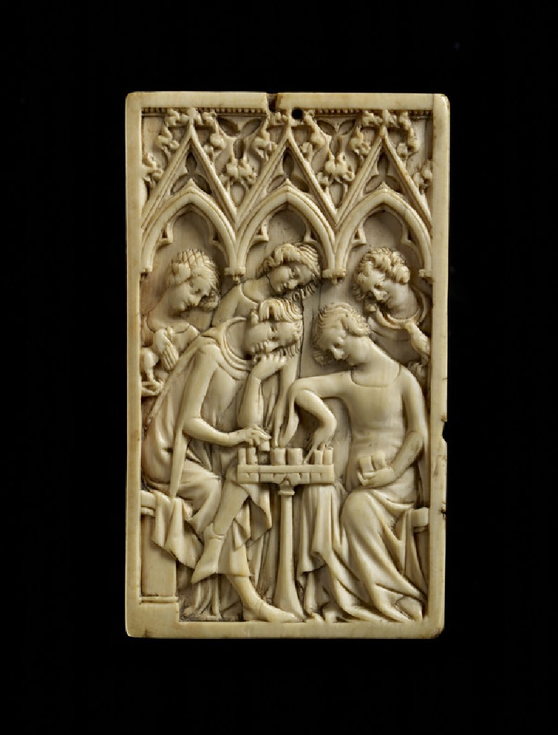 Ivory panel, a man and a woman playing chess (WA2013.1.3)
