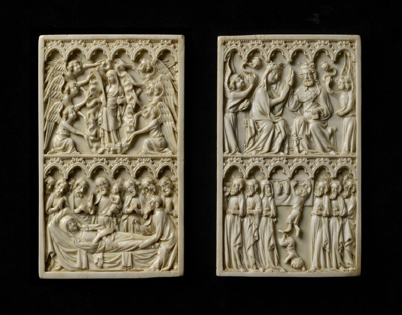 Ivory panel, the Coronation of the Virgin and a Miracle at the Virgin's Funeral (WA2013.1.4.2)