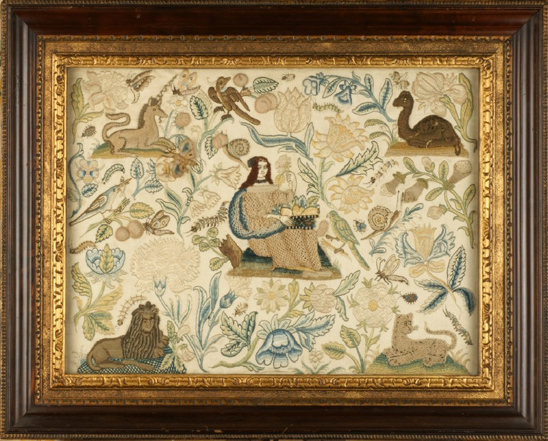 Textile panel with Lady, personification of the Senses of Smell and Taste