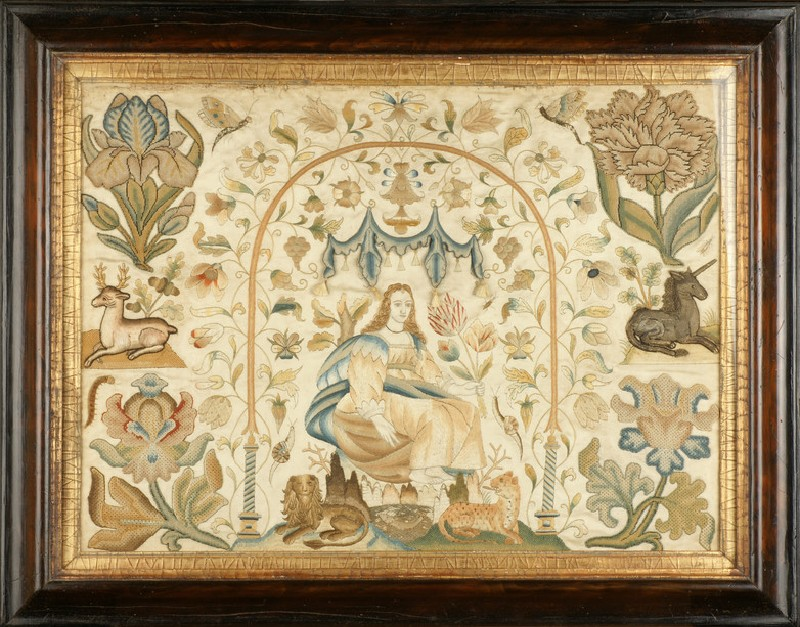Textile panel with Lady under arch, possibly personification of one of the Senses