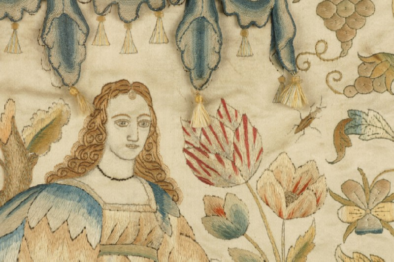 Textile panel with Lady under arch, possibly one of the Senses (WA2014.71.19)