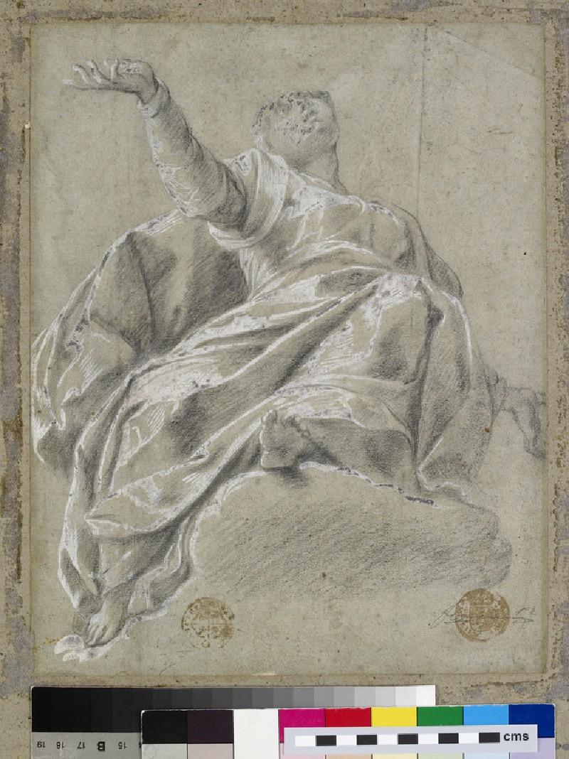 Seated female figure on a cloud, gazing upwards (WA2015.30)