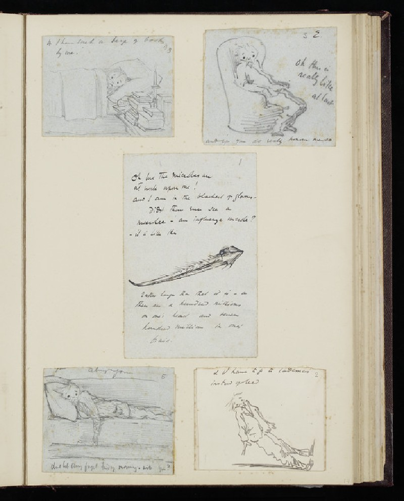 Illustrated letter with self-portrait lying in bed (WA2015.68.52)