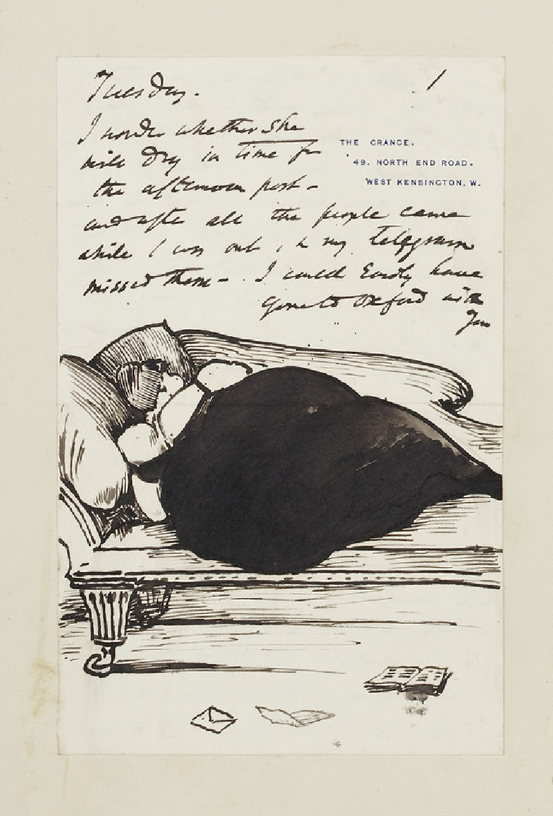 Illustrated letter with a fat woman in evening dress asleep on a sofa