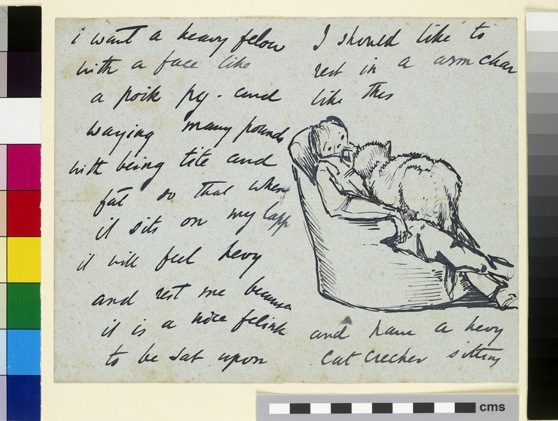 Illustrated letter with a self-portrait of Burne-Jones sitting in an armchair with a large cat on his lap